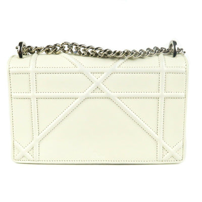 Christian Dior Diorama Small White Leather Crossbody Bag Chain Shoulder Flap | Pre-Owned Used