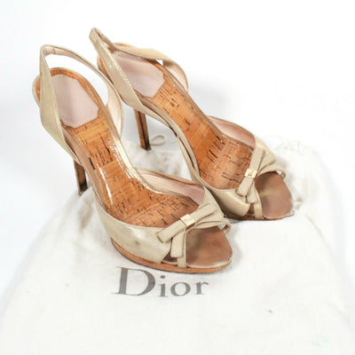 Christian Dior Open Toe Bow Heels Metallic Leather Slingback US 6.5 - 36.5