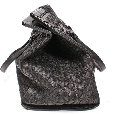 Bottega Veneta Woven Small Leather Satchel Bag Quilted Black Stitch