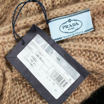 New: Prada 2019 Cable Knit Sweater Brown Mohair Scarf Neck Tie US 00 - 36