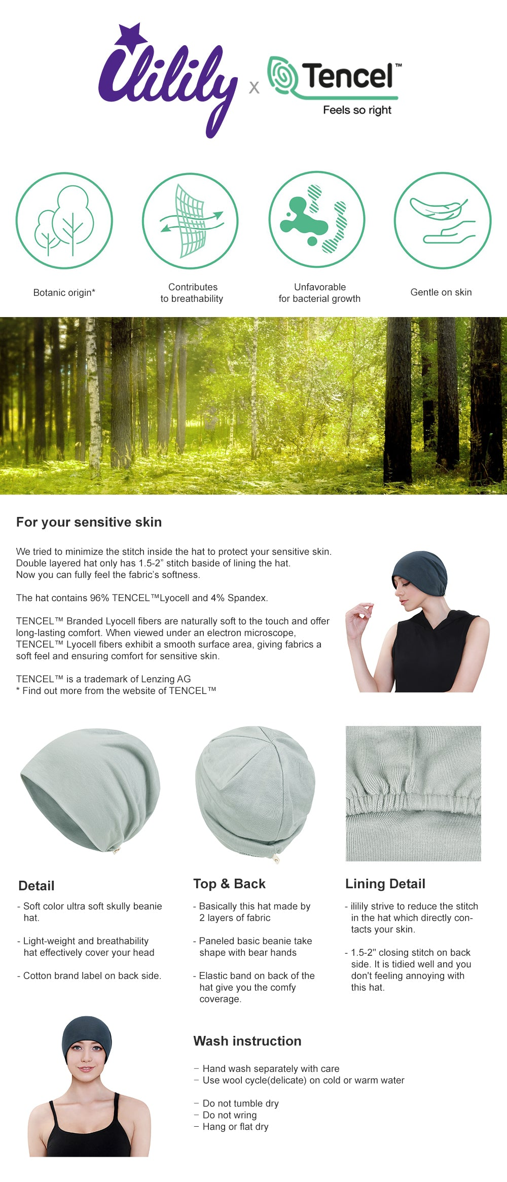 ililily Tencel Lyocell Color Beanie Ultra Soft Stretchable Head Cover Hat