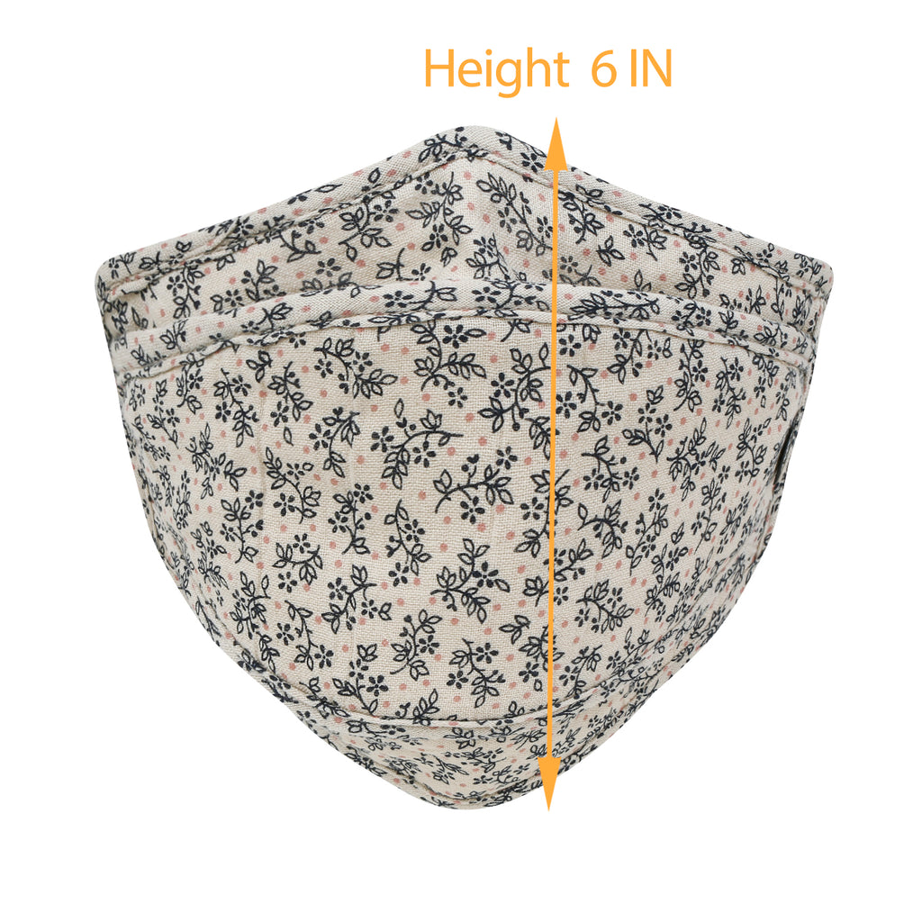 ililily Cotton Flower Pattern Reusable Face Cover Sewn-in Filter Fashion Mask