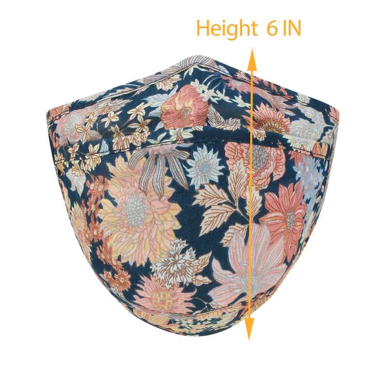 ililily Cotton Floral Patterned Face Cover Reusable Shield With Filter Pocket