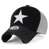 ililily Star Embroidery Black White Trucker Hat Cotton Baseball Cap