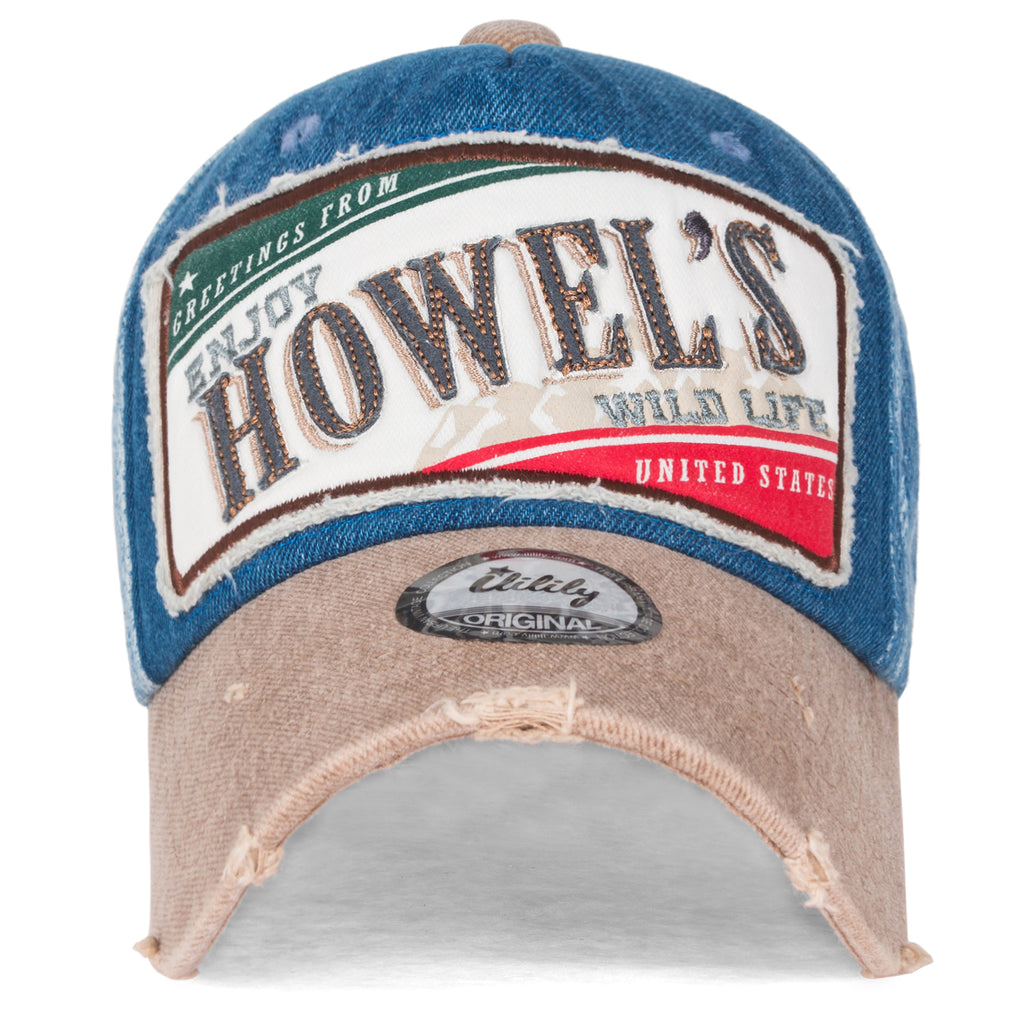 ililily Howel's Distressed Vintage Washed Cotton Denim Baseball Cap Trucker Hat