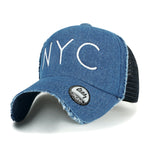 ililily NYC Embroidered Distressed Baseball Cap Color Mesh SnapBack Trucker Hat