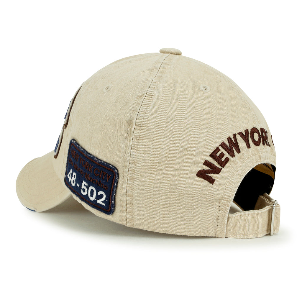 ililily NYC Patch Baseball Cap Solid Color Cotton StrapBack Trucker Hat