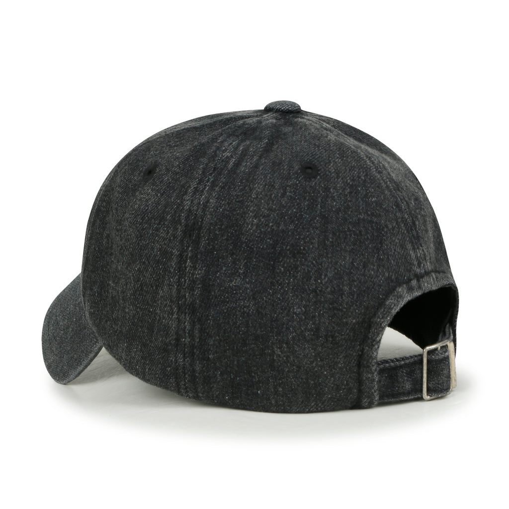 ililily Washed Black Cotton Denim Embroidery Baseball Cap