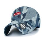 ililily Washed Cotton Denim Colored Camouflage Pattern Baseball Cap