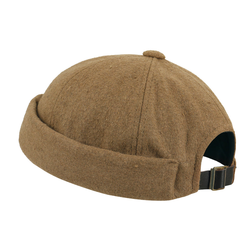 ililily Solid Color Wool Blend Short Beanie Faux Leather Strap Hat Soft Cap