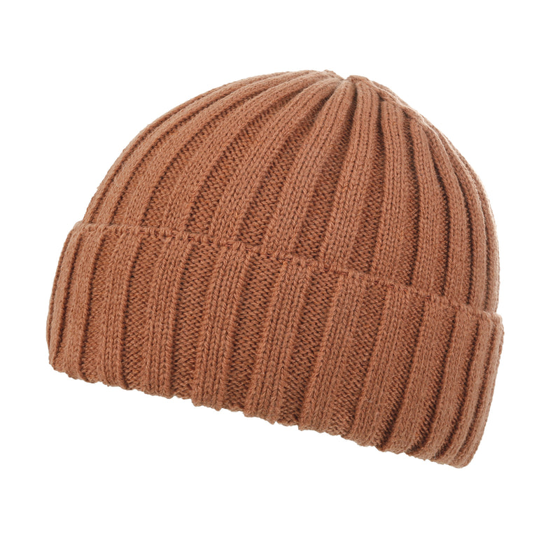 ililily Color Fold Over Soft Short Beanie Basic Winter Ribbed Knit Hat