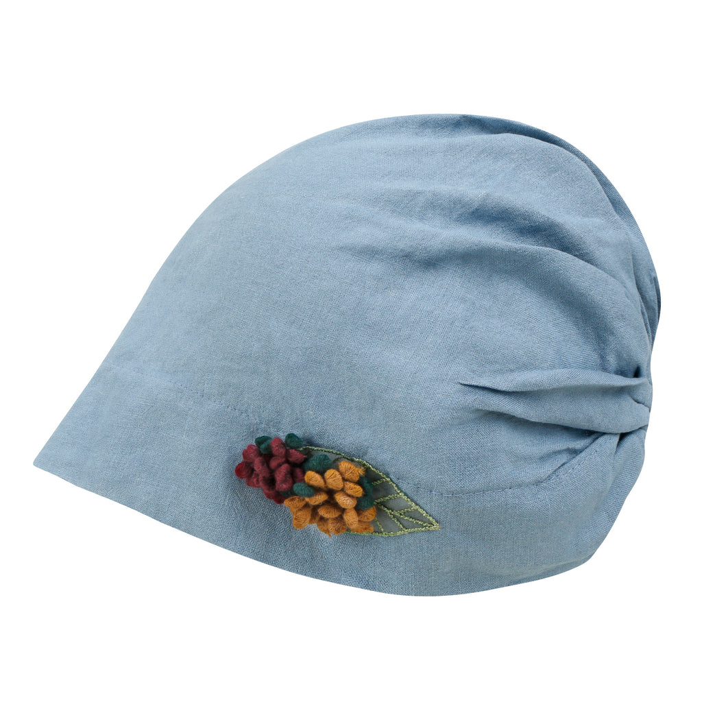 ililily Washed Color Cotton Beanie Flower Embroidery Corsage Turban Hat