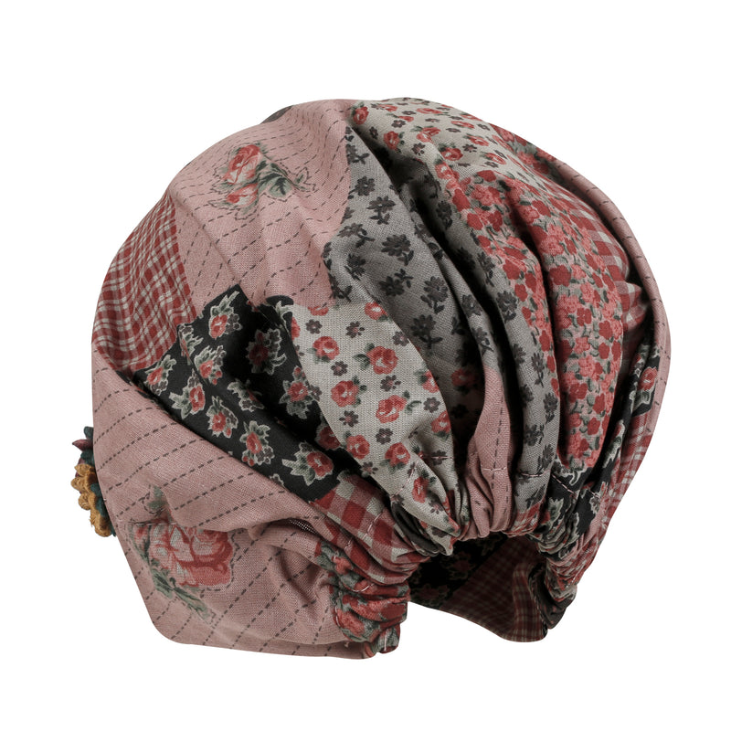 ililily Patchwork Patterned Cotton Beanie Flower Embroidery Corsage Turban Hat
