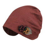 ililily Dotted Pattern Cotton Beanie Flower Embroidery Corsage Turban Hat