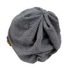 ililily Stripe Wrinkled Color Beanie Flower Embroidery Corsage Turban Hat