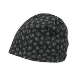 ililily Purple Flower Pattern Basic Beanie Soft Light-weight Stretchable Bandana
