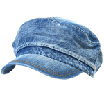 ililily Vintage Washed Denim Military Solid Color Cotton Cadet Cap Army Camo Hat