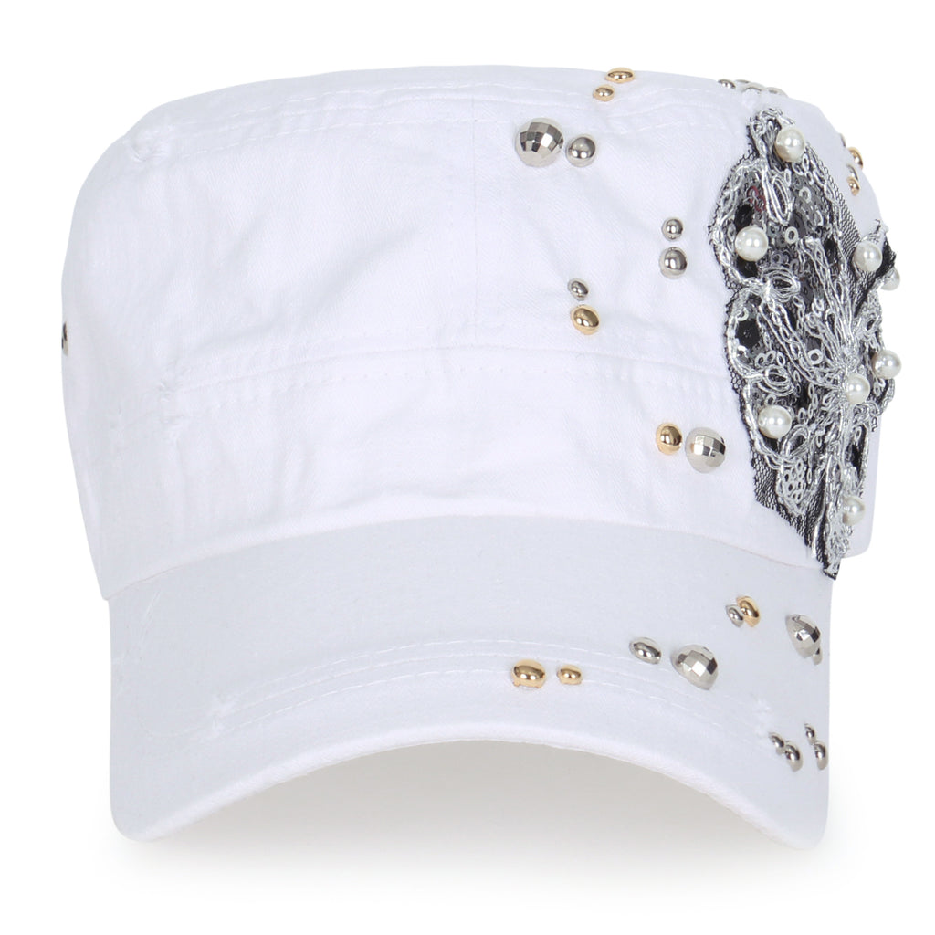 ililily Vintage Distressed Cotton Rhinestone Embellished Hat Military Cadet Cap