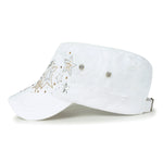 ililily Crystal Gemstone Stud Flower Vintage Cotton Military Army Hat Cadet Cap