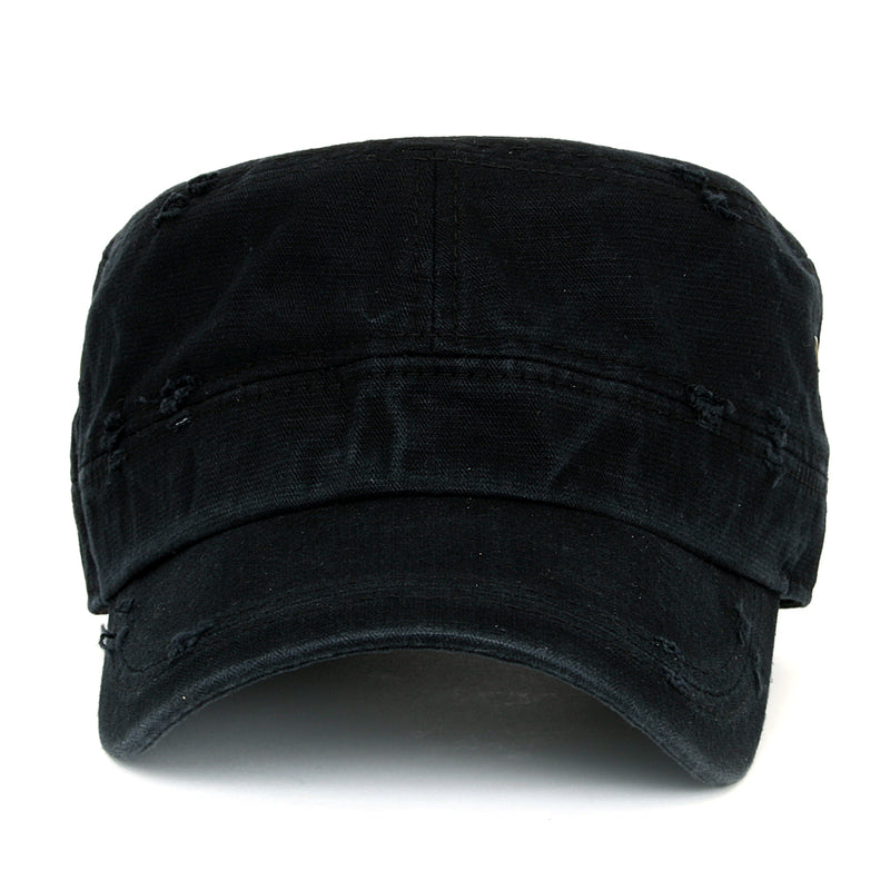 ililily Solid Color Distressed Cotton Cadet Cap Vintage Military Army Style Hat