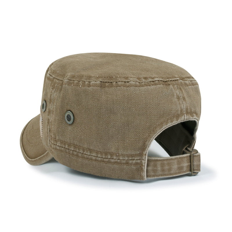 ililily Solid Color Cotton Military Army Hat Basic Blank Casual Cadet Cap
