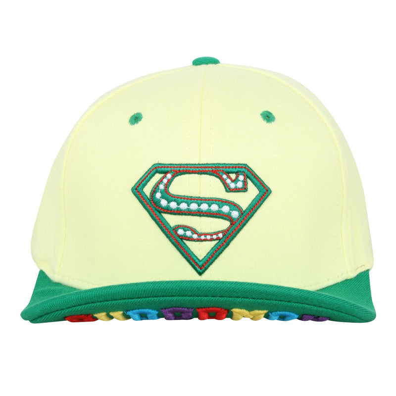 ililily Cotton Jersey Superman Shield Embroidery Cap Letter Brim Flat Bill