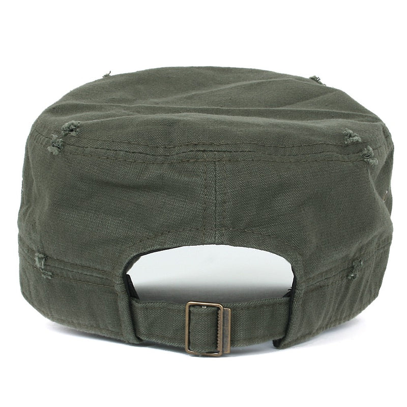ililily Distressed Cotton Cadet Cap Strap Army Style Hat