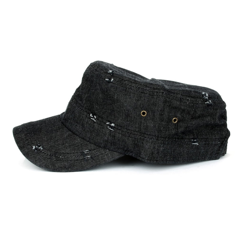 ililily Distressed Vintage Denim Cadet Cap Strap Army Style Hat