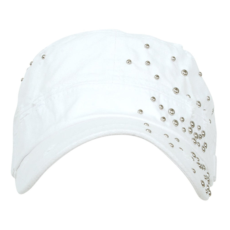 ililily Distressed Military Silver Round Studs Cadet Cap Flex-fit Army Style Hat