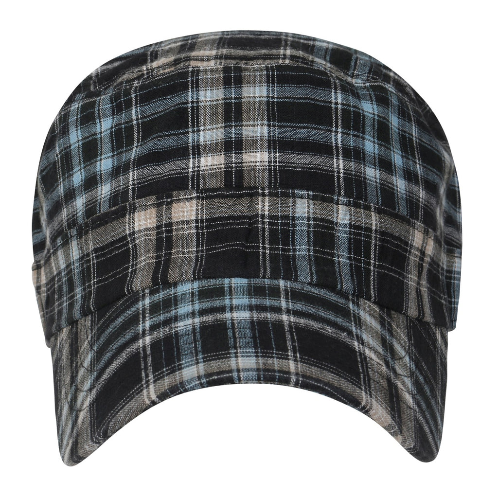 ililily Tartan Checkered Cotton Military Army Radar Hat Casual Cadet Cap