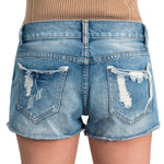 ililily Women Vintage Distressed Light Washed Cotton Jean Pants Denim Shorts