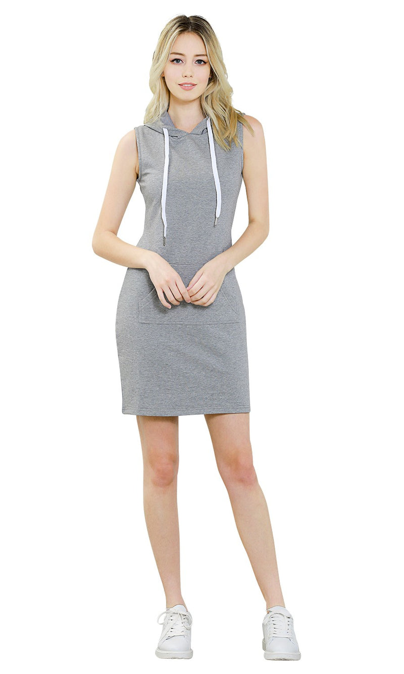 ililily Women Sleeveless Mini Hoodie Dress Bodycon Pullover Jumper Sweatshirt