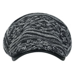 ililily Cable Knit Vintage Newsboy Hat Faux Leather Brim Driver Hunting Flat Cap