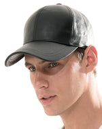 ililily Genuine Leather Precurved Bill Baseball Cap Snapback