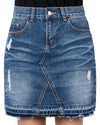 ililily Woman Vintage Distressed Washed Cotton Denim H-line Mini Skirt