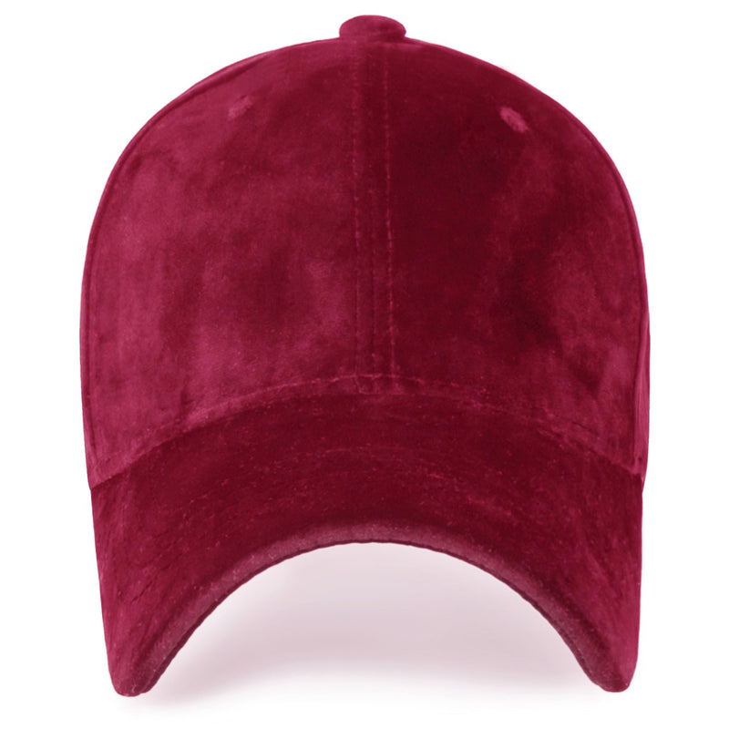 ililily Solid Color Baseball Cap Strapback Velour Adjustable Casual Trucker Hat