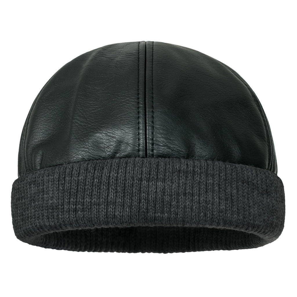 ililily Faux Leather Solid Color Skully Beanie Ribbed Knit Band Hat