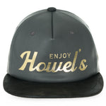 Howels Faux Leather Letter Printed Flat Bill Baseball Cap Snapback Trucker Hat