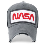 ililily NASA Worm Logo Embroidery Baseball Cap Mesh Snap Back Trucker Hat