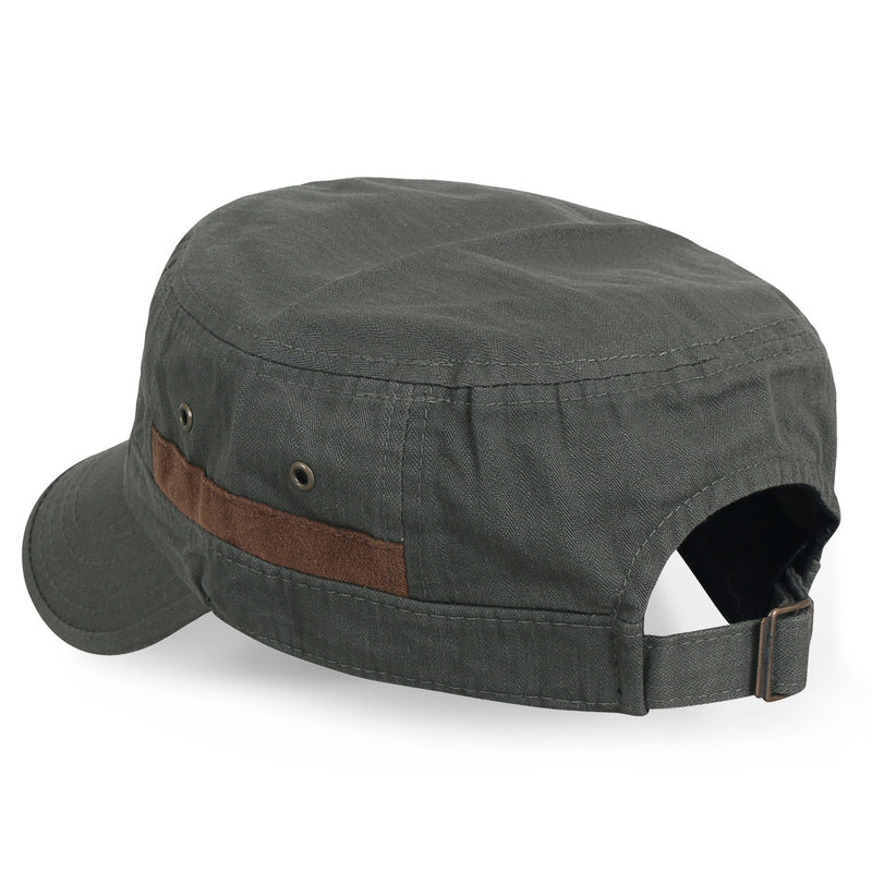 ililily Faux Suede Trim Military Cap Vintage Cotton Strap Back Army Cap