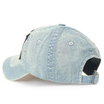 ililily Washed Cotton Denim Embroidered Patch Vintage Trucker Hat Baseball Cap