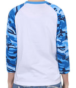 ililily Casual 3/4 Raglan Camo Pattern Sleeve Basic Cotton Baseball T-shirt Top