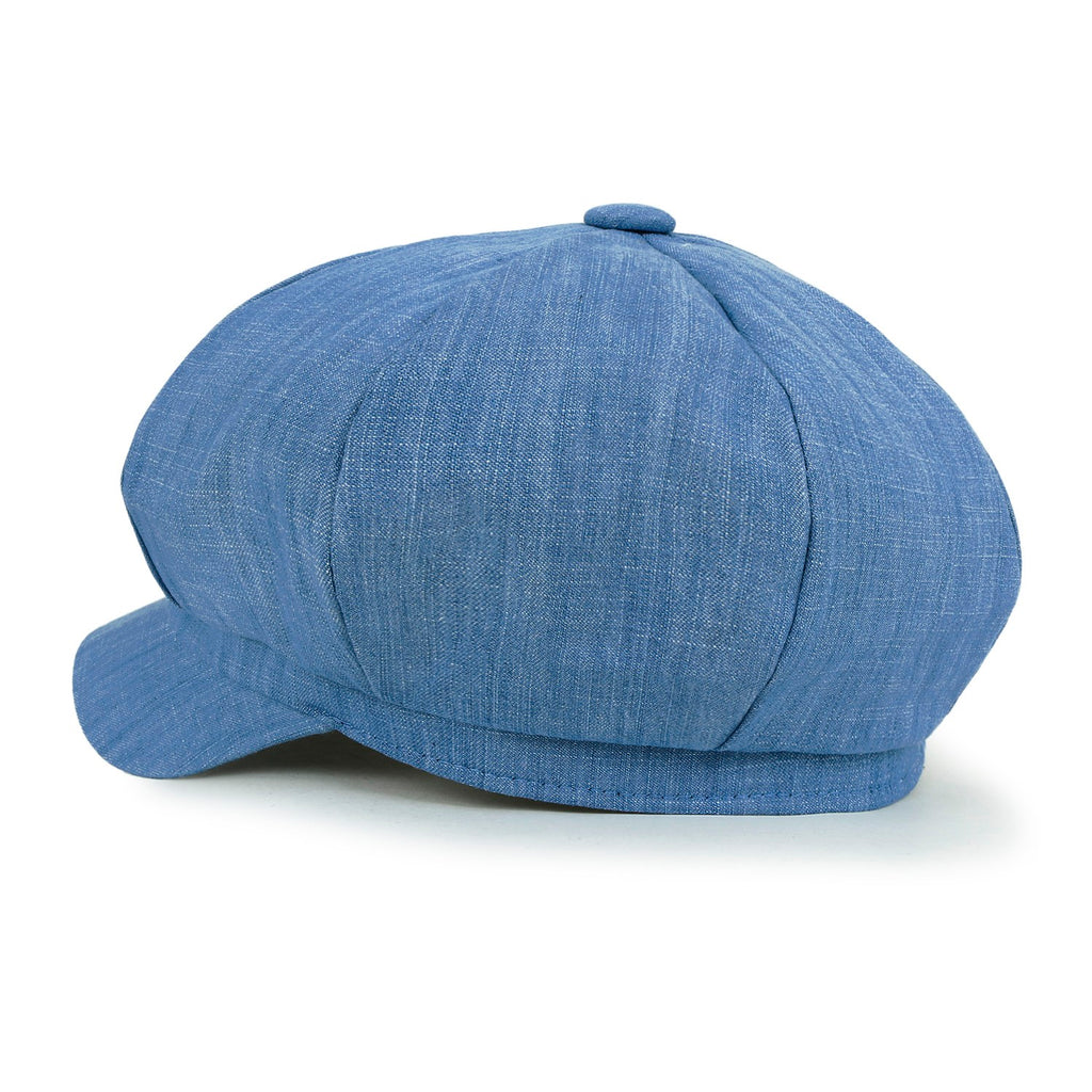 ililily Cotton Denim Newsboy Cabbie Cap Solid Color Duck Bill Flat Hunting Hat