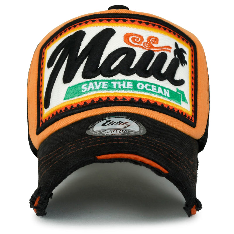 ililily Maui Embroidery Patch Casual Mesh Baseball Cap Distressed Trucker Hat