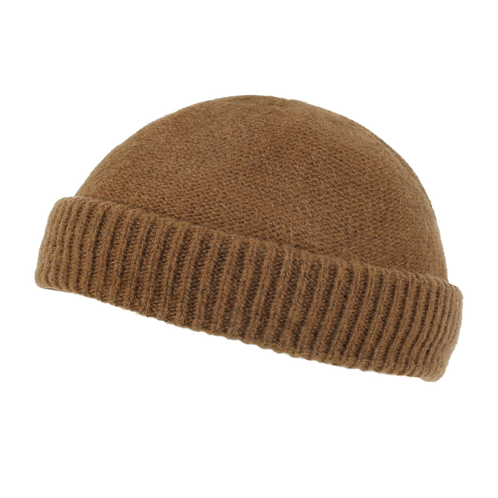 ililily Solid Color Fold Over Beanie Wool Blended Short Ribbed Knit Hat