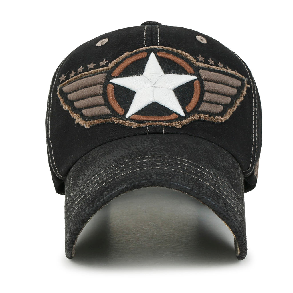 ililily Wing And Star Embroidery Color Baseball Cap Washed Cotton Trucker Hat