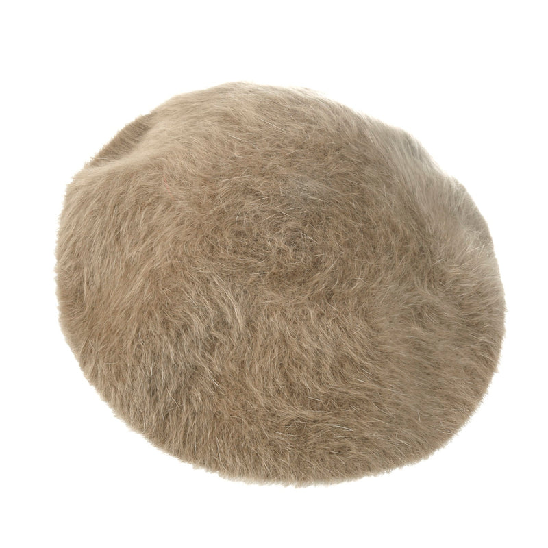 ililily Solid Color Angora French Beret Furry Artist Flat Winter Hat