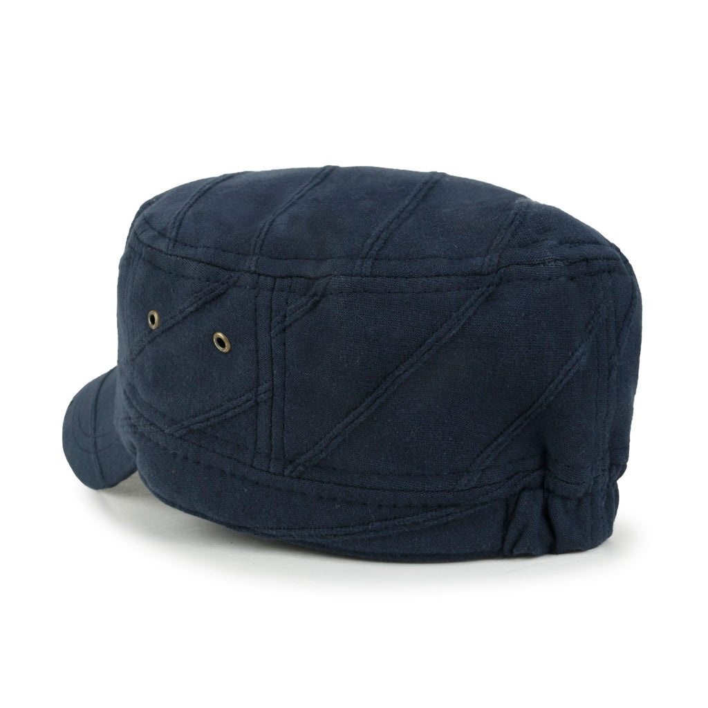 ililily Solid Color Cotton Military Army Hat Line Casual Cadet Cap