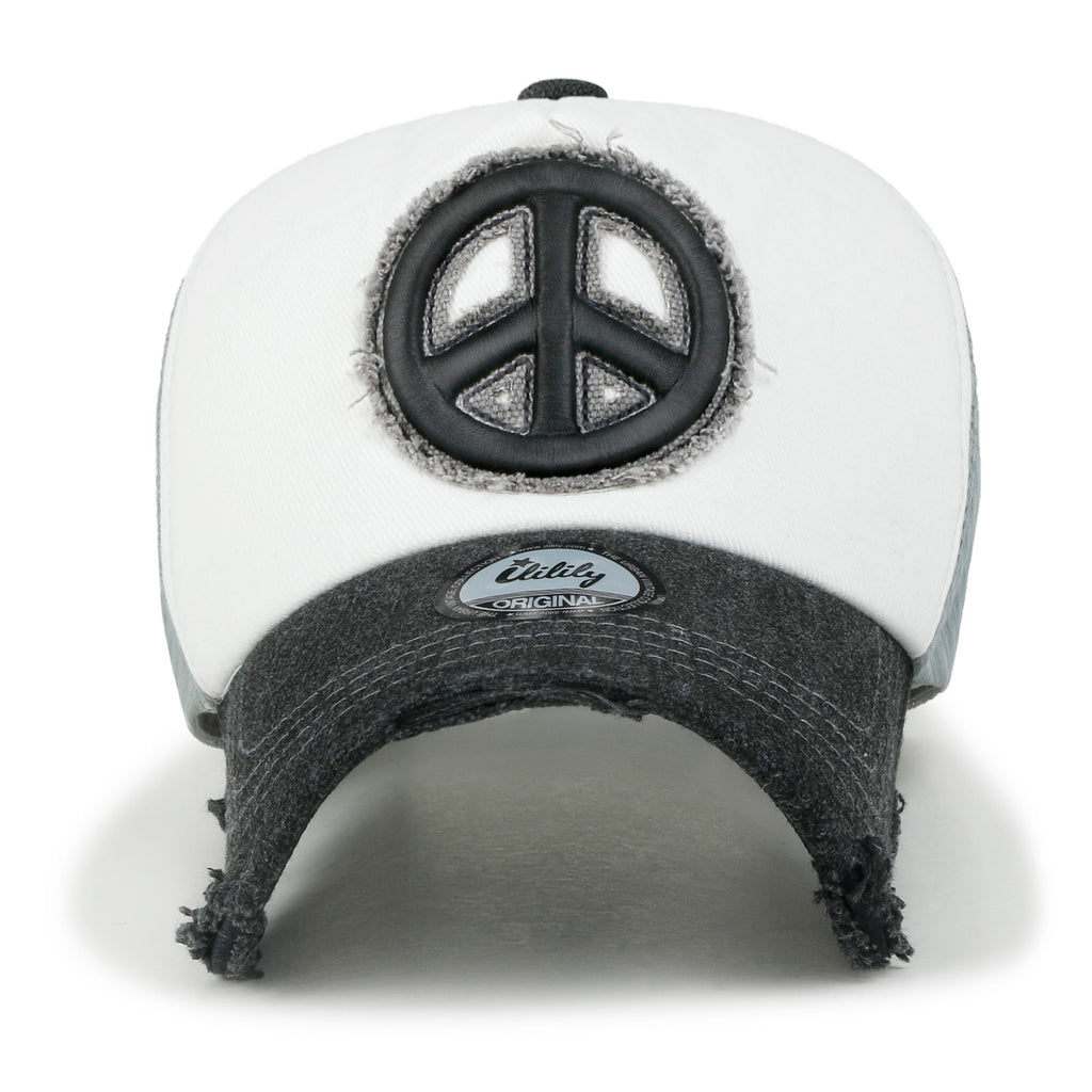 ililily Peace Symbol Embroidery Distressed Trucker Hat Cotton Baseball Cap