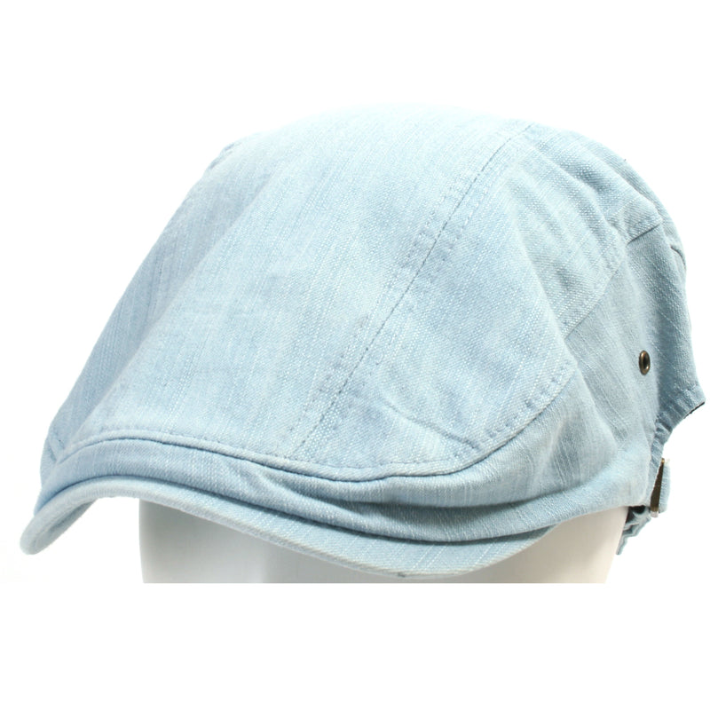 ililily Denim Cotton Newsboy Flat Cap With Snapback Ivy Driver Hunting Hat